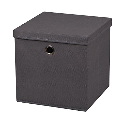 2-Stck-Faltbox-Dunkelgrau-28-x-28-x-28-cm-Aufbewahrungsbox-faltbar-mit-Deckel
