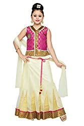 Aarika Girls' Self Design Party Wear Lehenga Choli Set