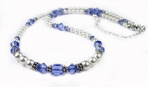 September Blue Sapphire Swarovski Crystal Birthstone Beaded Necklaces in Sterling Silver with White Pearls and Adjustable 2 Inch Extension - MEDIUM 18 In.
