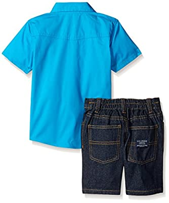 U.S. Polo Assn. Baby Boys' 2 Piece Solid Shirt and Short