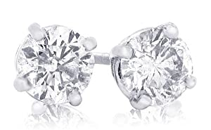 IGI CERTIFIED 1 1/2 Carat TW Round Diamond Stud Earrings 14Kt White Gold-W