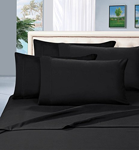 #1 Rated Best Seller Luxurious Bed Sheets Set on Amazon! Elegant Comfort® 1500 Thread Count Wrinkle,Fade and Stain Resistant 4-Piece Bed Sheet set, Deep Pocket, HypoAllergenic - Full Black (Black Bed Sheets compare prices)
