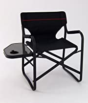 Onway Aluminum Portable Folding Deck Chair with Side Table (Black)