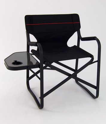 Designer's Aluminum Folding Deck Chair w/ Side Table (Black)