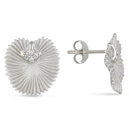 Silver 1.75mm Cubic Zirconia Leaf Style Earrings