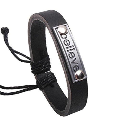 "DDLBiz ""Believe"" Letter Leather Mens Bracelet & Bangles Jewelry"