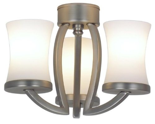 Fanimation Lk500 3 Light Contemporary Candelabra Light Kit With Glass Shades, Pewter