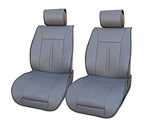 120902 grey leather like vinyl 2 front car for Mercedes benz car seat cushion