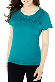 Pure Linen Lace Yoke T-Shirt [T41-2480P-S]