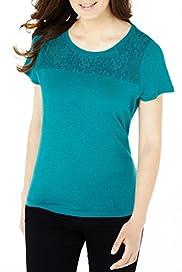 Pure Linen Lace Yoke T-Shirt [T41-2480P-S]