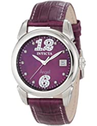 Invicta Women's 0769 Angel Diamond Accented Plum Mother-Of-Pearl Dial Plum Leather Watch