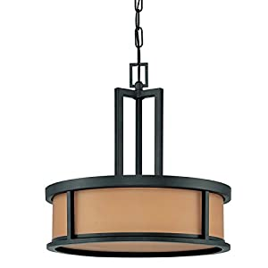 Nuvo 60/2858 Four Light Pendant With Parchment Glass, Aged Bronze
