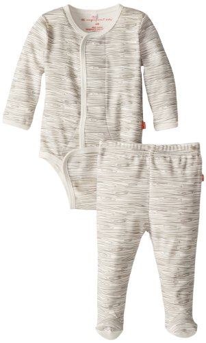 Magnificent Baby Unisex-Baby Newborn Long Sleeve Burrito Pant Set, Birch, 3 Months