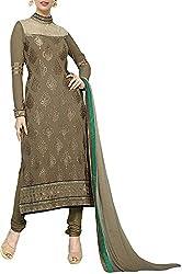 VIDA Women's Georgette Salwar Suit Material (Khaki)