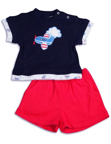 Snopea - Baby Boys Puffs In The Sky Short Set, Black, Red 29669-9Months front-784841