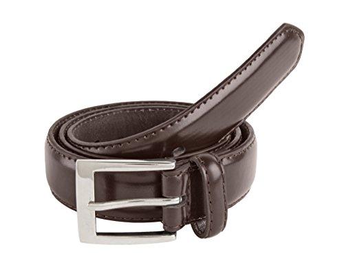 Sportoli™ Mens Classic Stitched Genuine Leather Uniform Belt - Brown (32)
