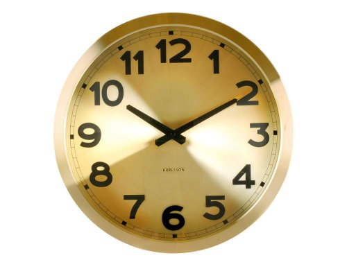 present time karlsson aluminum station wall clock gold