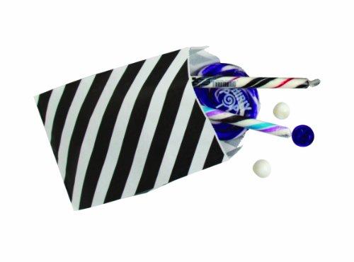 Party Partners Design 12 Count Halloween Paper Favor Bags, Black Stripe