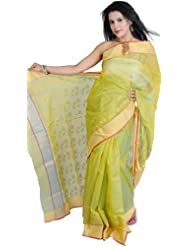 Exotic India Jade-Lime Chanderi Sari With Hand Woven Flowers And Gol - Jade-Lime