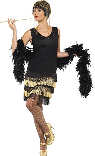 Smiffy's 20s Fringed Flapper Costume, Black/Gold, Medium