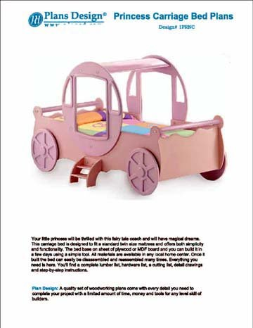 Princess Cinderella Carriage Twin Bed Woodworking Project Plans - Design Prncn