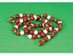 6' Christmas Traditions Red, Green and White Glitter Beaded Ball Garland