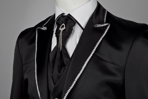 Mens Wedding Party Suit Black White Piping Waistcoat & Crovat