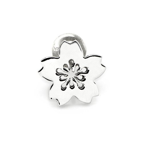 925 Sterling Silver Polished Finish Cherry Blossom Single Stud Earring