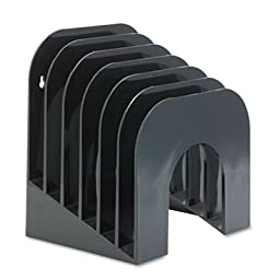 Six-Tier Jumbo Incline Sorter, Plastic, 9 3/8 x 10 1/2 x 7 3/8, Black, Sold as 1 Each