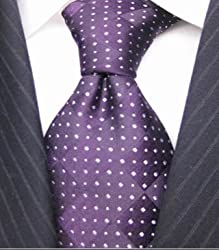 SPEAK Swanky Purple & White Design Mens Silk Tie