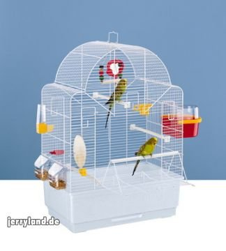 Ferplast Ibiza Open Bird Cage With Pearly White Bars with Accessories, Medium