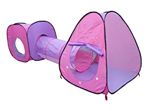 Childrens, Kids Pop Up Play Tent and Tunnel Set - Pink