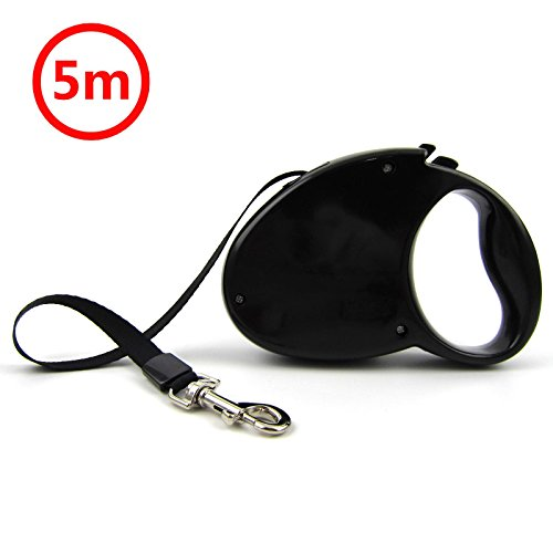 INUGAMI 16 Feet Retractable Dog Leash, Professional Pet Belt / Tape / Ribbon Leash for Mudium & Large Dogs, One Button Break & Lock, Black