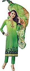 Lebaas Green Colour Lawn Cotton A-Line Suit (Unstitched Dress Material) - (With Discount and Sale Offer)