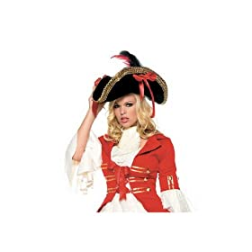 Sexy Gold Trim Pirate Hat Halloween Costume Party Accessory Leg Avenue by Fenvy One Size, Black/Red