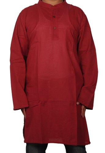 Designed Striped Mens Casual Cotton Indian Long Kurta Size 3XL