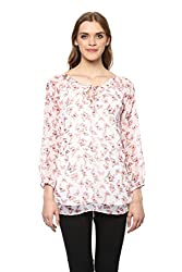 MARTINI White Printed A-Line Chiffon Hip Length Tunic