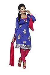 Khazana Women's Chanderi Unstitched Dress Material (khazana-75-ch-09_Blue_Free Size)