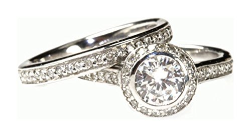 Cubic Zirconia White Gold Engagement Rings