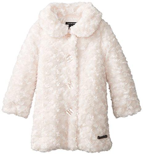Calvin Klein Little Girls' Faux Fur Coat, Pink, 5 front-1020653