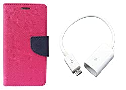Novo Style Book Style Folio Wallet Case MotorolaMoto E Pink + Micro USB OTG Cable Attach Pendrive Card Reader Mouse Keyboard to Tablets Mobile