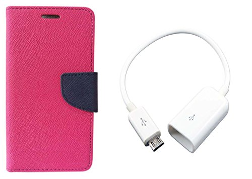 Novo Style Wallet Case Cover For Samsung Galaxy Core Prime SM-G360 Pink + Micro USB OTG Cable Attach pendrive Card Reader Mouse Keyboard to Tablets Mobile  available at amazon for Rs.285
