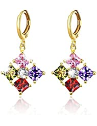 YELLOW CHIMES Flowers Beauty Swiss Cubic Zirconia Gold Plated Clip On Earrings For Women