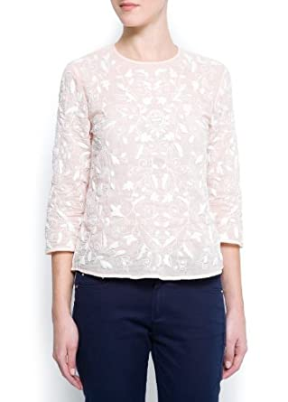 Mango Women's Embroidered Cotton Blouse, Pale Pink, 6
