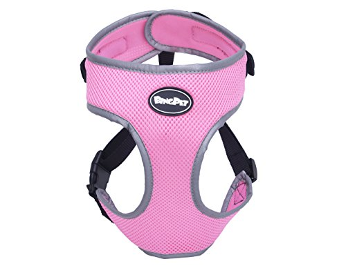 EXPAWLORER Neck Adjustable Soft Mesh Reflective Dog Harness No Pull Easy Walking Pet Puppy Vest - Light Pink - L (Girl Dog Harness compare prices)