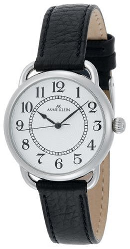 AK Anne Klein Women&#8217;s 108687SVBK Easy to Read Silver-Tone Casual Watch with a Black Leather Strap