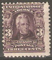 USA Collectible Postage Stamps: 1903 Jackson 3 cent bright violet. Mint