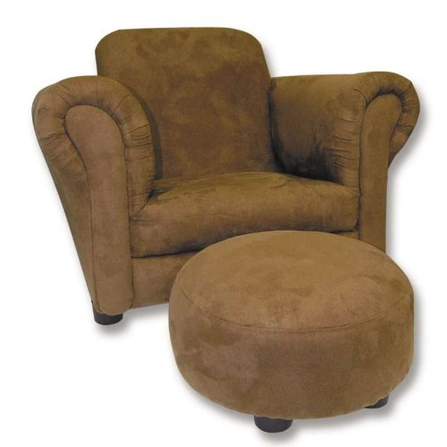 BROWN ULTRASUEDE CLUB CHAIR & OTTOMAN SET
