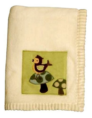 Lambs and Ivy Enchanted Forest Plush Blanket, Cream With Green Inset