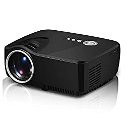 Projector, Syhonic S70GP 1080P Full HD LCD LED Mini Portable Multimedia Home Theater Projector Support DVDs HDMI USB SD AV VGA TV Interface HD Video Games TV Movie Music Projector (Black)